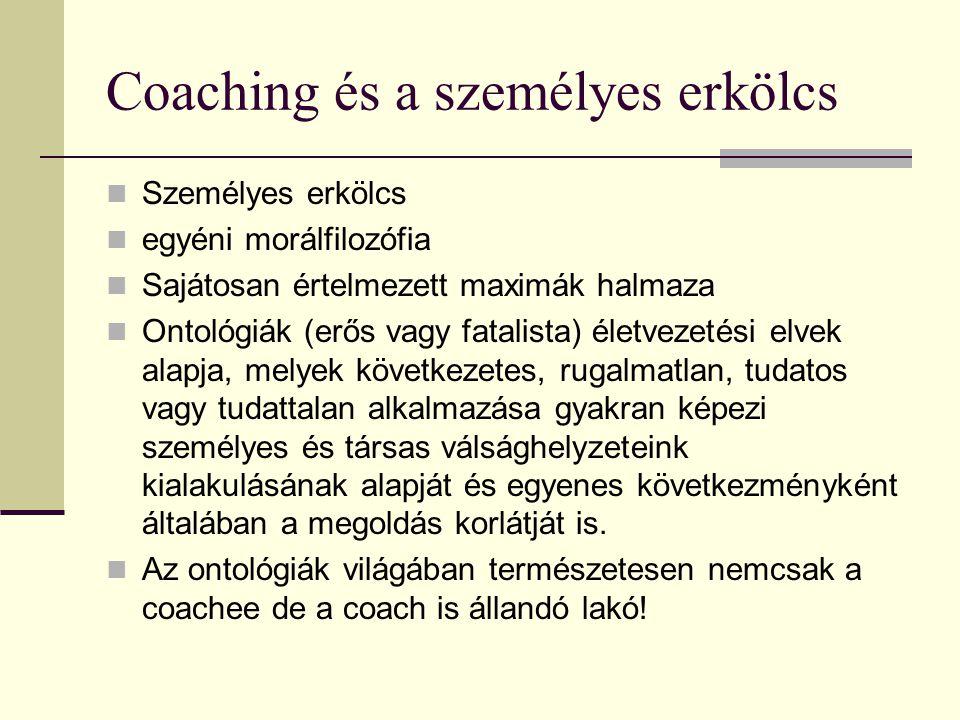 Coaching és a személyes erkölcs Személyes erkölcs egyéni morálfilozófia Sajátosan értelmezett maximák halmaza Ontológiák (erős vagy fatalista) életvez