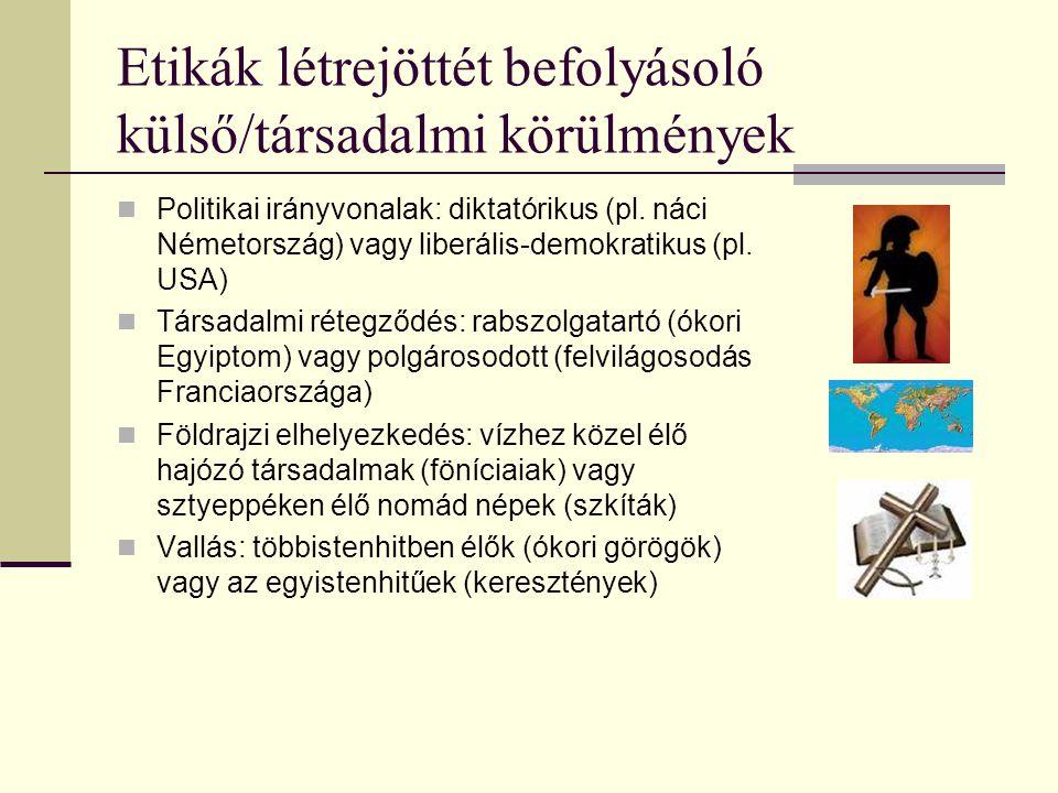 Etikák létrejöttét befolyásoló külső/társadalmi körülmények Politikai irányvonalak: diktatórikus (pl.