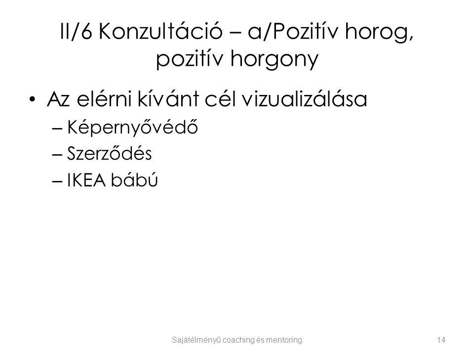 II/6 Konzultáció – a/Pozitív horog, pozitív horgony Az elérni kívánt cél vizualizálása – Képernyővédő – Szerződés – IKEA bábú Sajátélményű coaching és