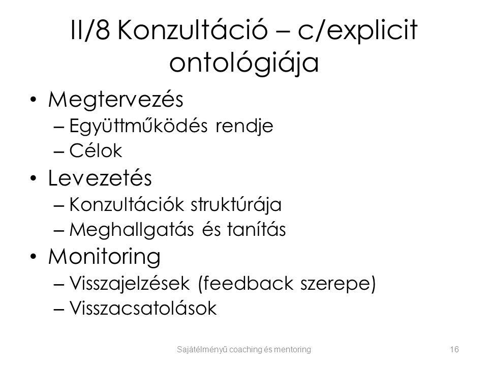 II/8 Konzultáció – c/explicit ontológiája Megtervezés – Együttműködés rendje – Célok Levezetés – Konzultációk struktúrája – Meghallgatás és tanítás Mo