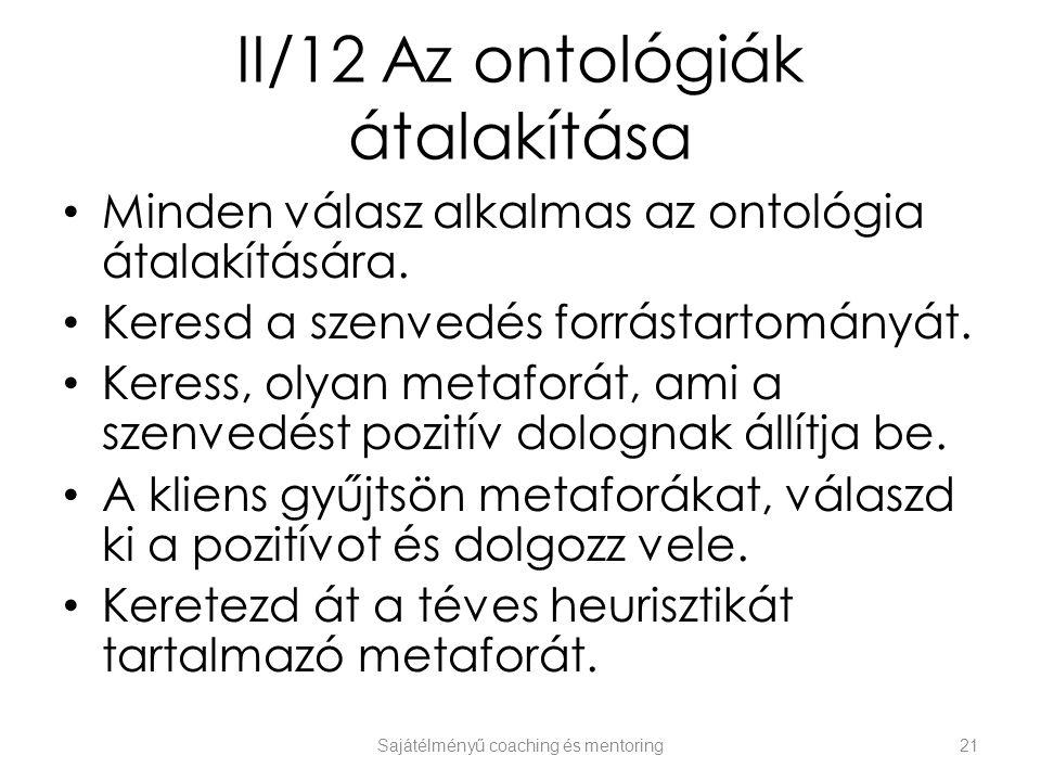 II/12 Az ontológiák átalakítása Minden válasz alkalmas az ontológia átalakítására. Keresd a szenvedés forrástartományát. Keress, olyan metaforát, ami