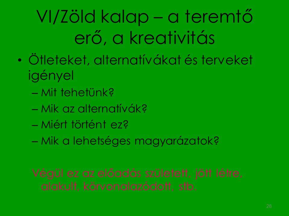 VI/Zöld kalap – a teremtő erő, a kreativitás Ötleteket, alternatívákat és terveket igényel – Mit tehetünk? – Mik az alternatívák? – Miért történt ez?
