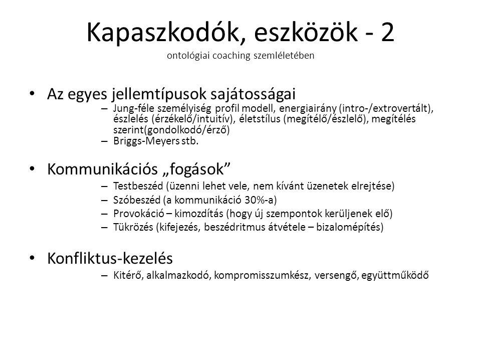 Kapaszkodók, eszközök - 2 ontológiai coaching szemléletében Az egyes jellemtípusok sajátosságai – Jung-féle személyiség profil modell, energiairány (intro-/extrovertált), észlelés (érzékelő/intuitív), életstílus (megítélő/észlelő), megítélés szerint(gondolkodó/érző) – Briggs-Meyers stb.