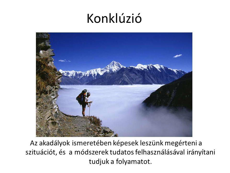 Konklúzió Az akadályok ismeretében képesek leszünk megérteni a szituációt, és a módszerek tudatos felhasználásával irányítani tudjuk a folyamatot.