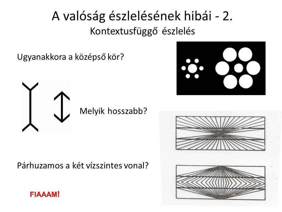 A valóság észlelésének hibái - 2.Kontextusfüggő észlelés Ugyanakkora a középső kör.