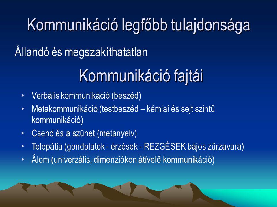 Kommunikáció legfőbb tulajdonsága Állandó és megszakíthatatlan Verbális kommunikáció (beszéd) Metakommunikáció (testbeszéd – kémiai és sejt szintű kom