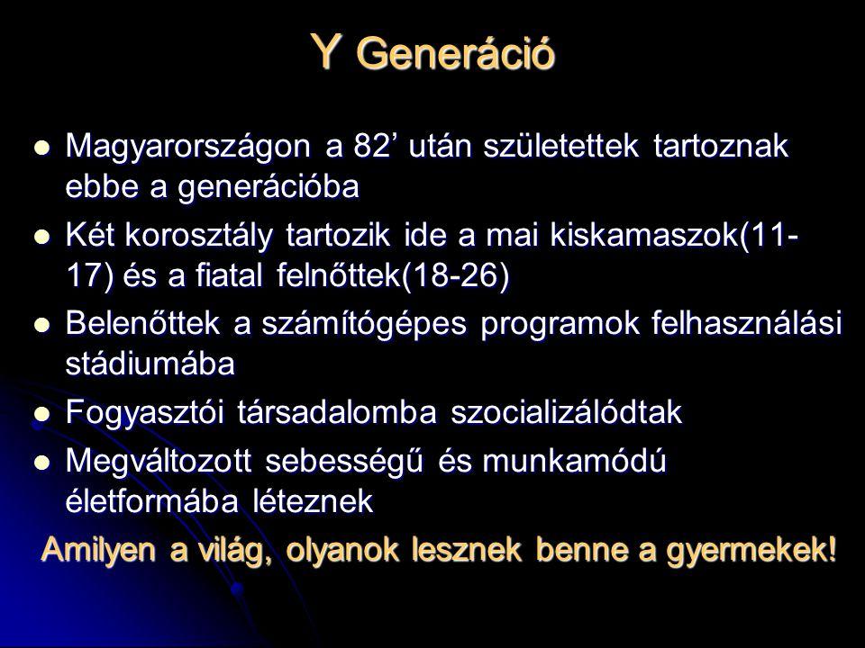 Y Generáció Magyarországon a 82' után születettek tartoznak ebbe a generációba Magyarországon a 82' után születettek tartoznak ebbe a generációba Két