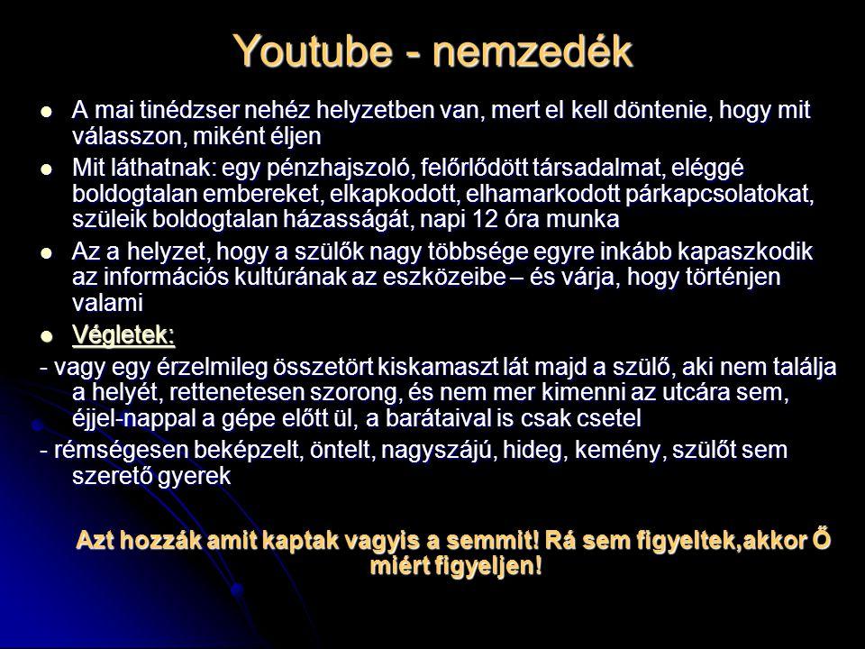 Youtube - nemzedék A mai tinédzser nehéz helyzetben van, mert el kell döntenie, hogy mit válasszon, miként éljen A mai tinédzser nehéz helyzetben van,