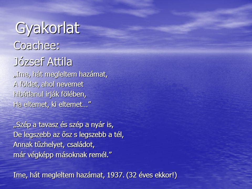 """Gyakorlat Coachee: József Attila """"Ime, hát megleltem hazámat, A földet, ahol nevemet hibátlanul irják fölében, Ha eltemet, ki eltemet…"""" """"Szép a tavasz"""