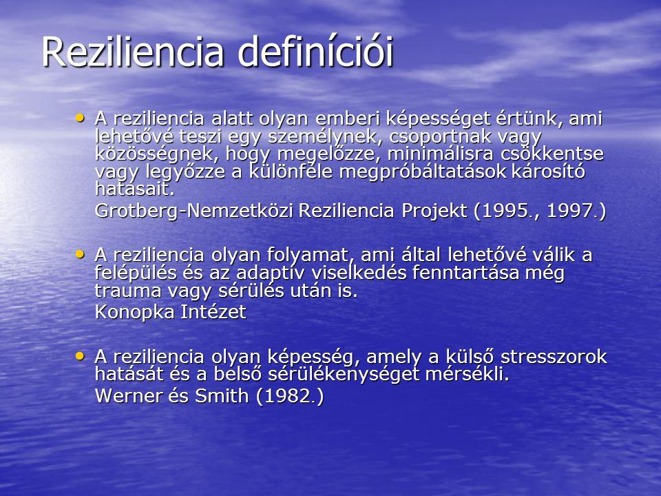 Reziliencia definíciói A reziliencia alatt olyan emberi képességet értünk, ami lehetővé teszi egy személynek, csoportnak vagy közösségnek, hogy megelő