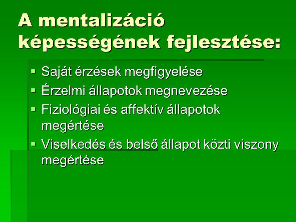 A mentalizáció képességének fejlesztése:  Saját érzések megfigyelése  Érzelmi állapotok megnevezése  Fiziológiai és affektív állapotok megértése  Viselkedés és belső állapot közti viszony megértése