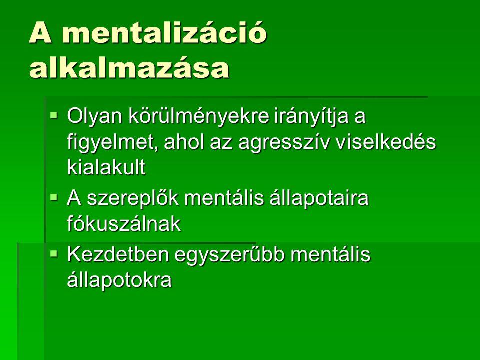 A mentalizáció alkalmazása  Olyan körülményekre irányítja a figyelmet, ahol az agresszív viselkedés kialakult  A szereplők mentális állapotaira fóku