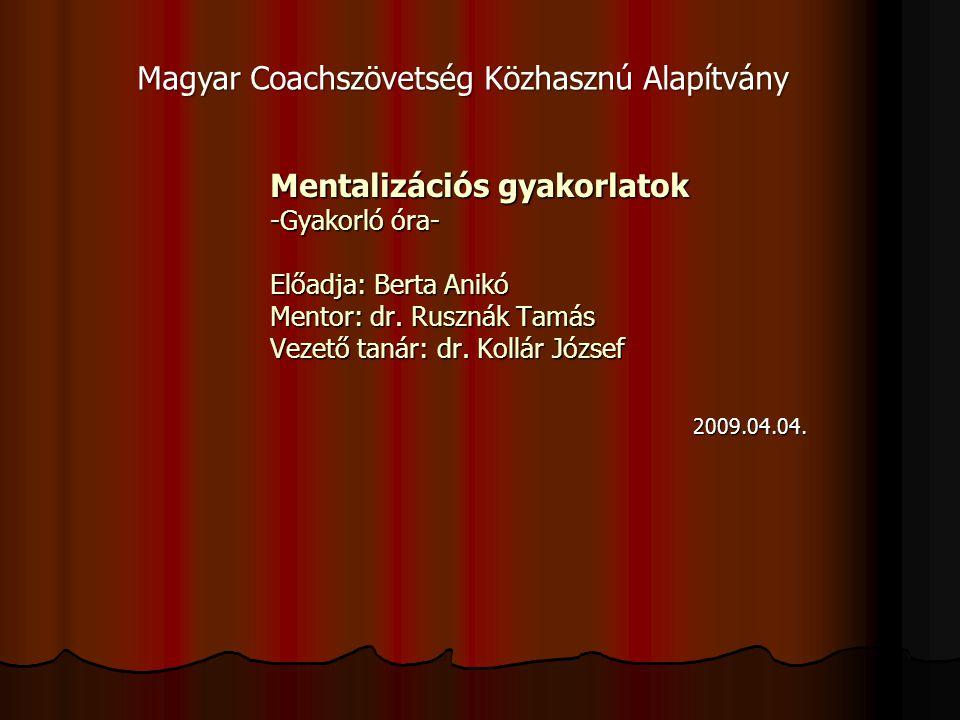 Mentalizációs gyakorlatok -Gyakorló óra- Előadja: Berta Anikó Mentor: dr.