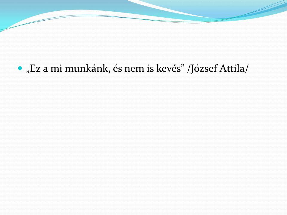 """""""Ez a mi munkánk, és nem is kevés /József Attila/"""