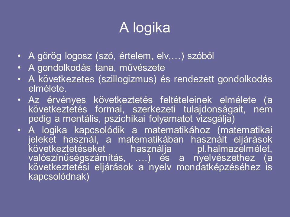 A logika A görög logosz (szó, értelem, elv,…) szóból A gondolkodás tana, művészete A következetes (szillogizmus) és rendezett gondolkodás elmélete.