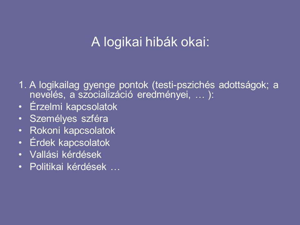 A logikai hibák okai: 1.