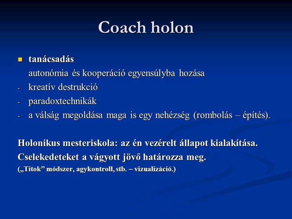 Coach holon tanácsadás tanácsadás autonómia és kooperáció egyensúlyba hozása - kreatív destrukció - paradoxtechnikák - a válság megoldása maga is egy nehézség (rombolás – építés).