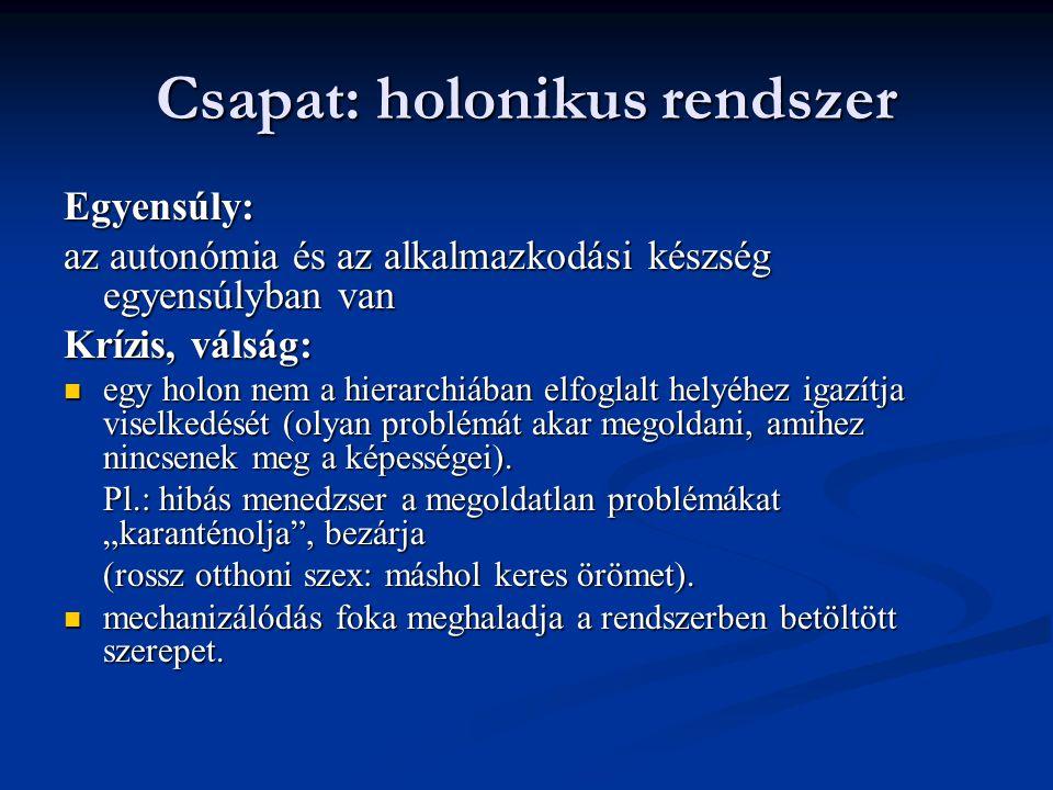 Csapat: holonikus rendszer Egyensúly: az autonómia és az alkalmazkodási készség egyensúlyban van Krízis, válság: egy holon nem a hierarchiában elfoglalt helyéhez igazítja viselkedését (olyan problémát akar megoldani, amihez nincsenek meg a képességei).