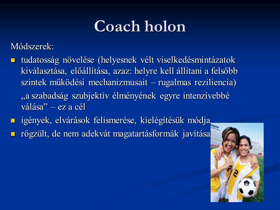 """Coach holon A coach és a coachee holont alkot ráhangolódás ráhangolódás coachee feltérképezése (figyelem, elemzés, visszejelzés, befolyásolás) coachee feltérképezése (figyelem, elemzés, visszejelzés, befolyásolás) - Coachee elhelyezése a holonikus rendszerben (""""kedvenc gondolat ); metaforák használata - az ontológiai szintek konzisztenciájának vizsgálata (illeszkedik-e a személy ontológiája az önmagától és mások által elvárthoz); ellentmondások keresése, kompetenciák felmérése (360˚ fokos felmérés, feedback funkciója)"""