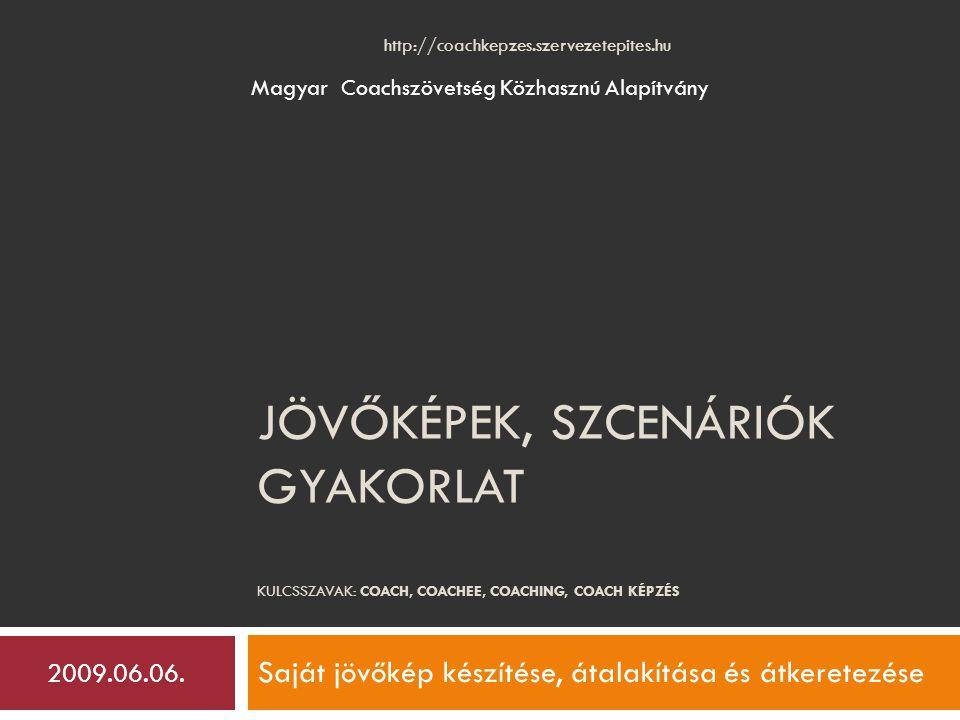 JÖVŐKÉPEK, SZCENÁRIÓK GYAKORLAT KULCSSZAVAK: COACH, COACHEE, COACHING, COACH KÉPZÉS Saját jövőkép készítése, átalakítása és átkeretezése Magyar Coachszövetség Közhasznú Alapítvány 2009.06.06.