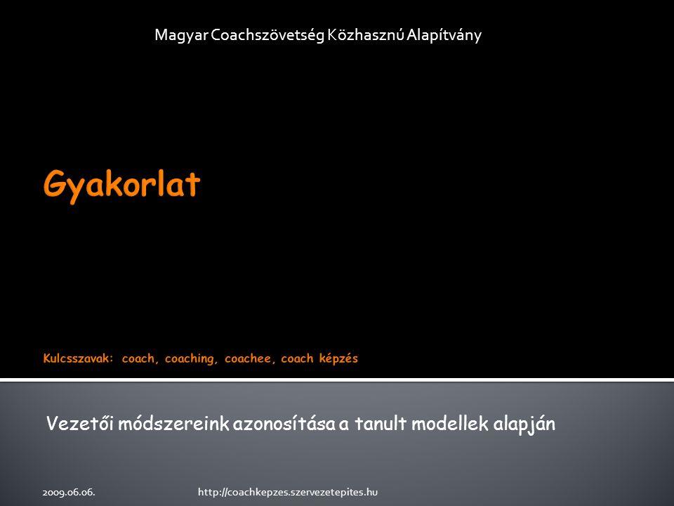 Vezetői módszereink azonosítása a tanult modellek alapján Magyar Coachszövetség Közhasznú Alapítvány 2009.06.06.http://coachkepzes.szervezetepites.hu