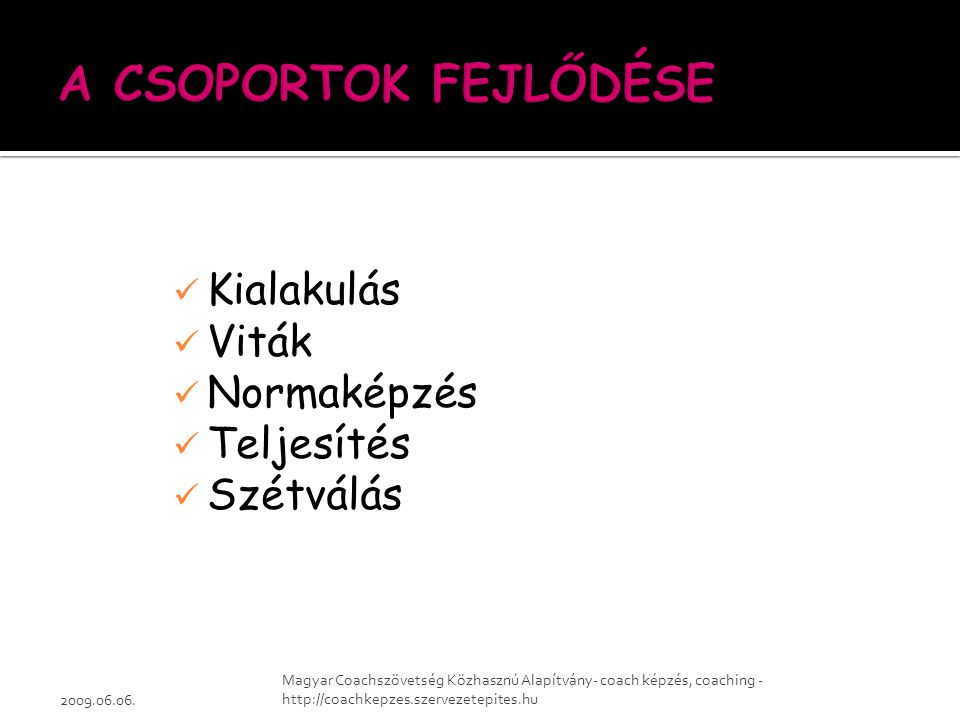 Kialakulás Viták Normaképzés Teljesítés Szétválás 2009.06.06. Magyar Coachszövetség Közhasznú Alapítvány- coach képzés, coaching - http://coachkepzes.