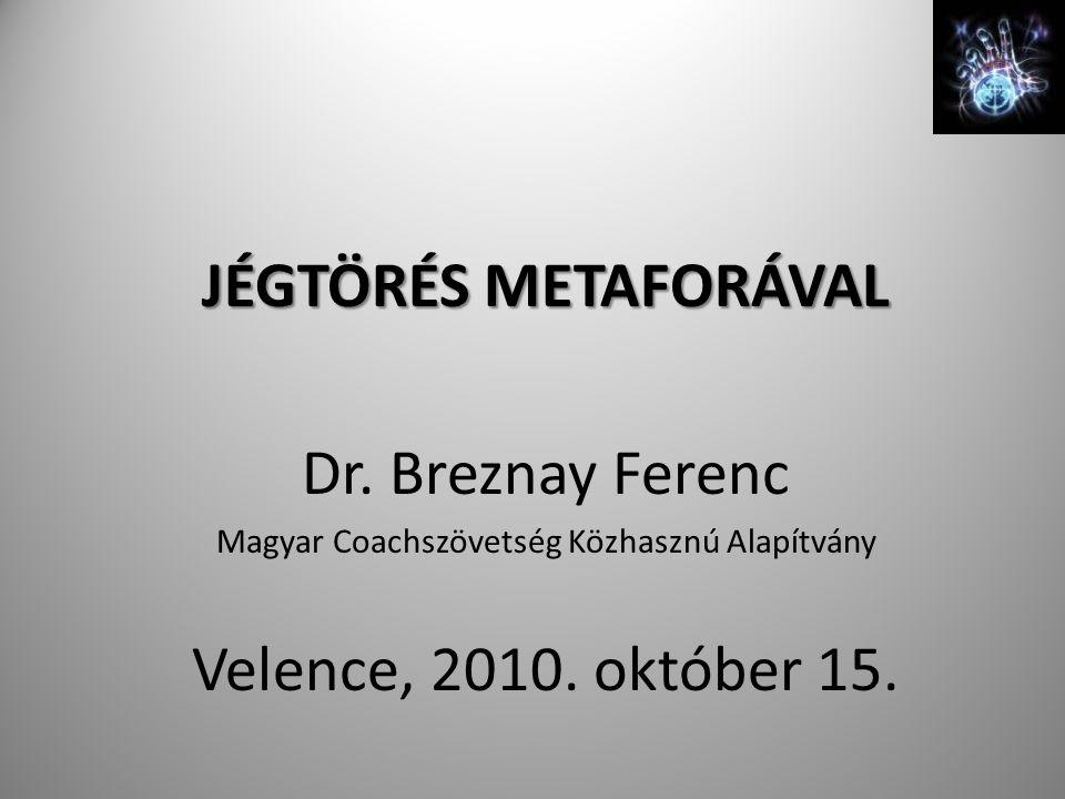 JÉGTÖRÉS METAFORÁVAL Dr.Breznay Ferenc Magyar Coachszövetség Közhasznú Alapítvány Velence, 2010.