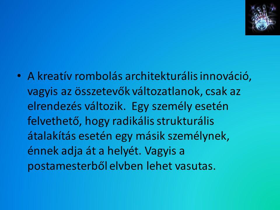 A kreatív rombolás architekturális innováció, vagyis az összetevők változatlanok, csak az elrendezés változik. Egy személy esetén felvethető, hogy rad