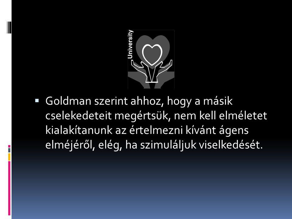  Goldman szerint ahhoz, hogy a másik cselekedeteit megértsük, nem kell elméletet kialakítanunk az értelmezni kívánt ágens elméjéről, elég, ha szimuláljuk viselkedését.