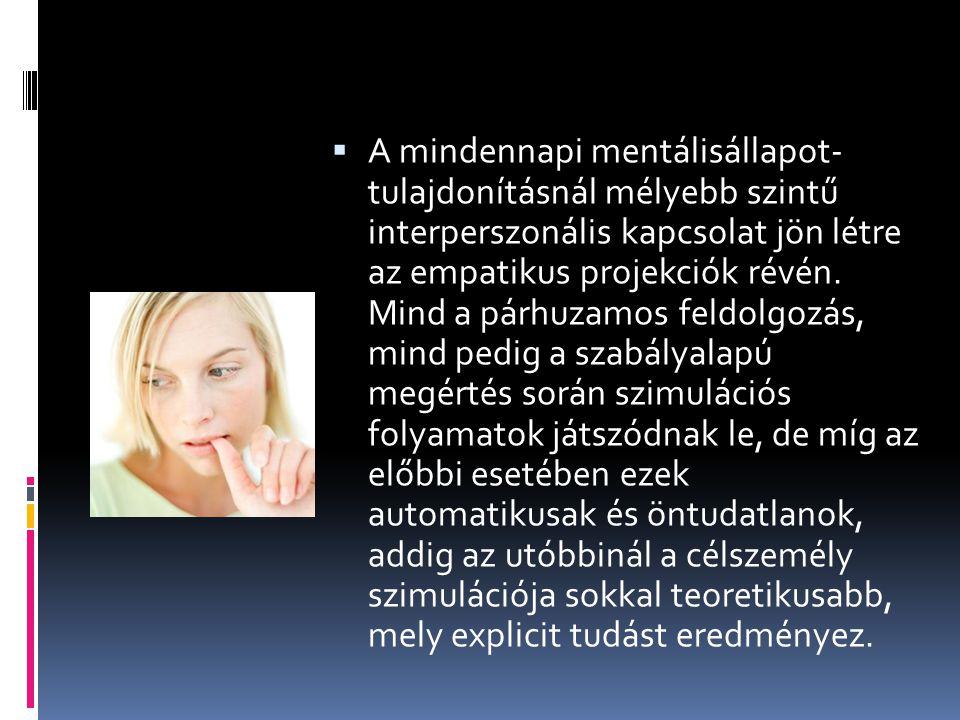  A mindennapi mentálisállapot- tulajdonításnál mélyebb szintű interperszonális kapcsolat jön létre az empatikus projekciók révén.