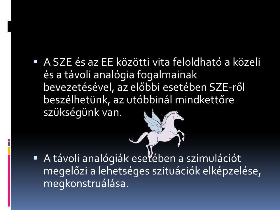  A SZE és az EE közötti vita feloldható a közeli és a távoli analógia fogalmainak bevezetésével, az előbbi esetében SZE-ről beszélhetünk, az utóbbinál mindkettőre szükségünk van.