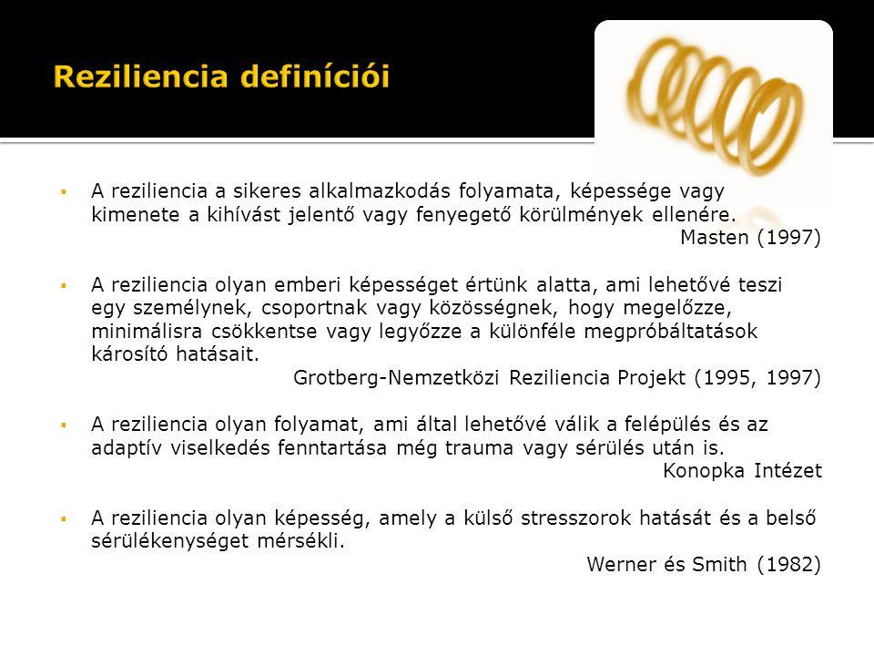  A reziliencia a sikeres alkalmazkodás folyamata, képessége vagy kimenete a kihívást jelentő vagy fenyegető körülmények ellenére. Masten (1997)  A r