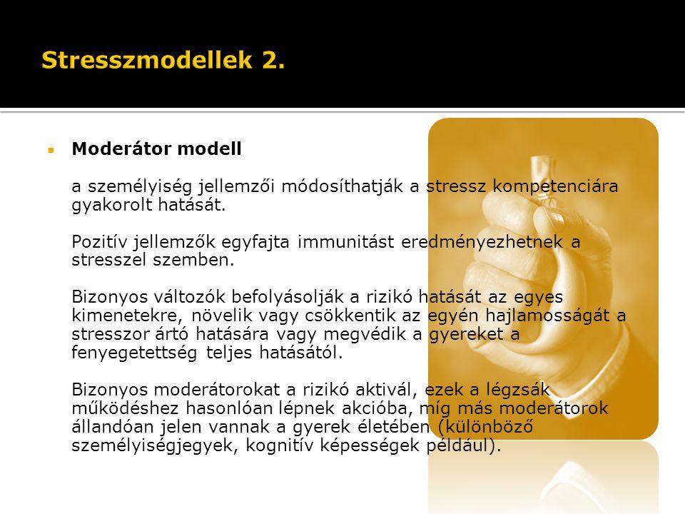  Moderátor modell a személyiség jellemzői módosíthatják a stressz kompetenciára gyakorolt hatását. Pozitív jellemzők egyfajta immunitást eredményezhe