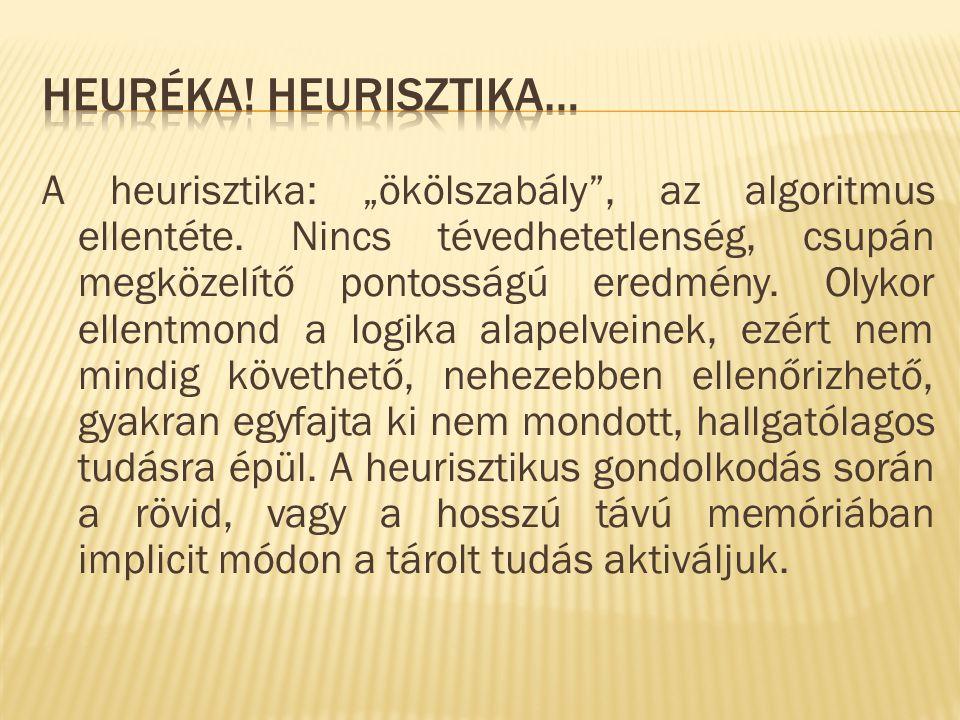 """A heurisztika: """"ökölszabály , az algoritmus ellentéte."""
