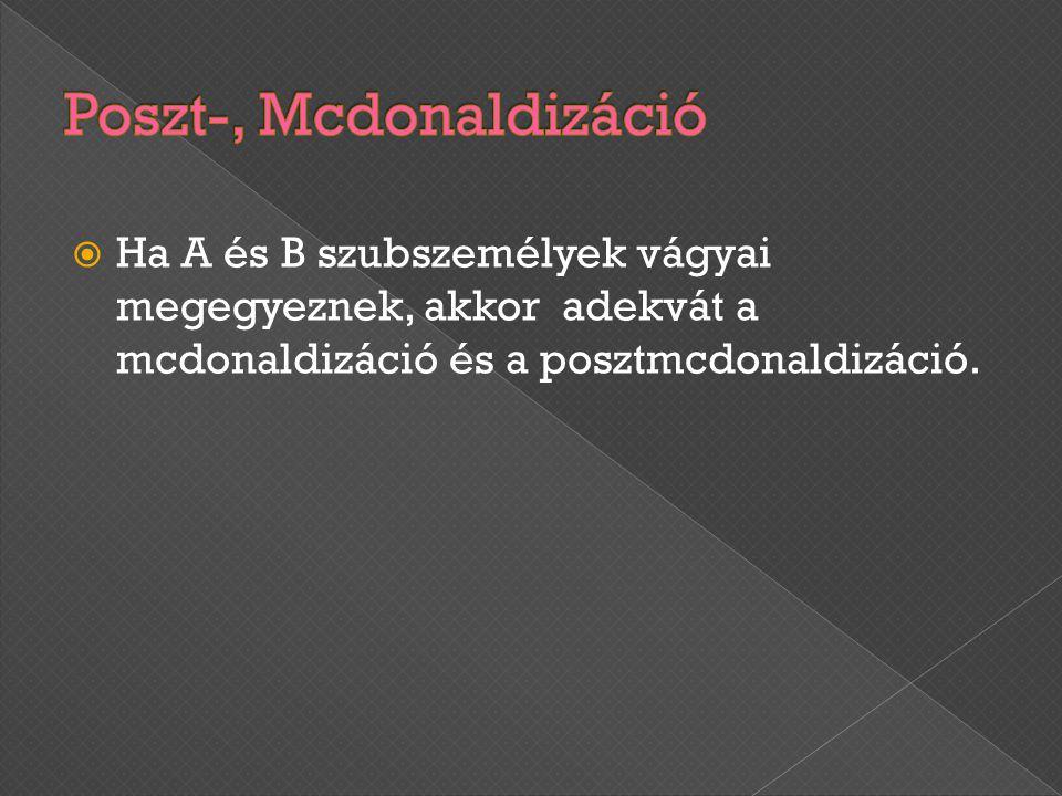  Ha A és B szubszemélyek vágyai megegyeznek, akkor adekvát a mcdonaldizáció és a posztmcdonaldizáció.
