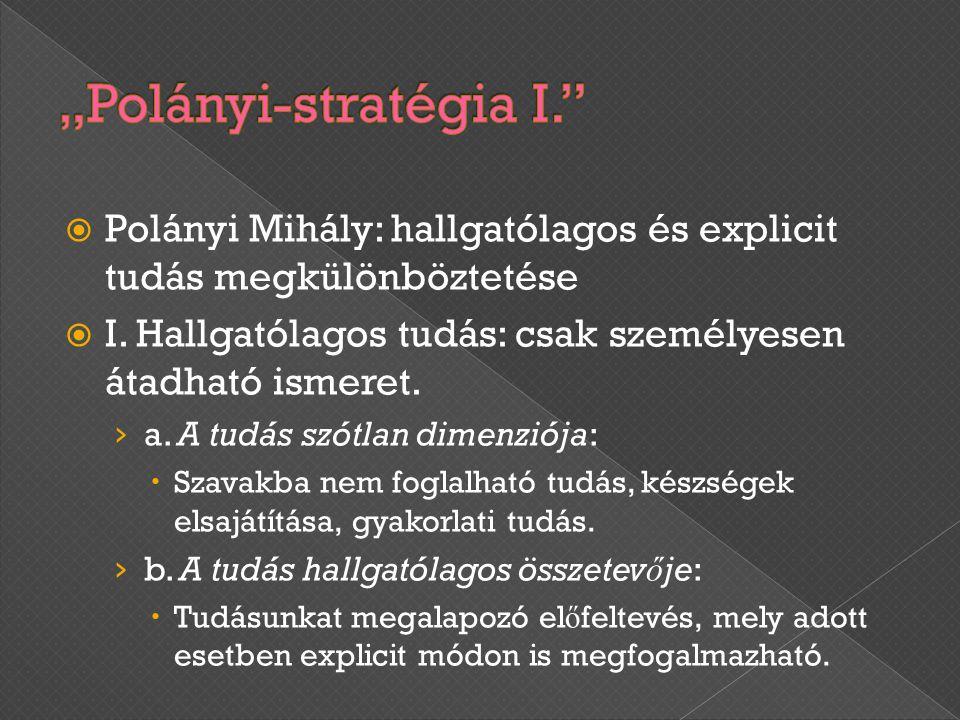  Polányi Mihály: hallgatólagos és explicit tudás megkülönböztetése  I. Hallgatólagos tudás: csak személyesen átadható ismeret. › a. A tudás szótlan