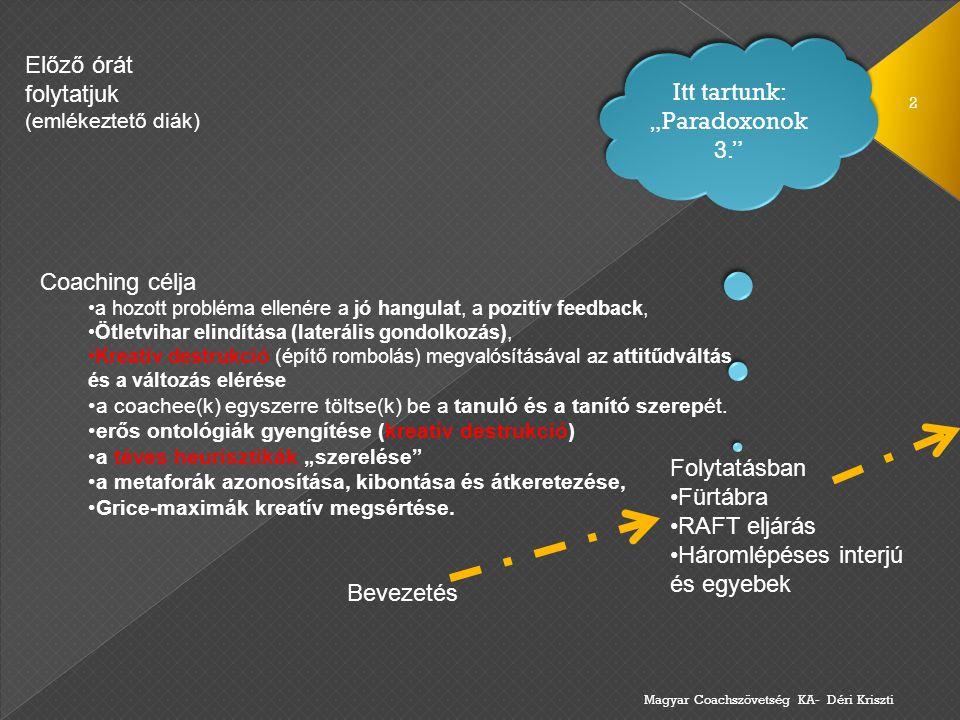 """Itt tartunk: """"Paradoxonok 3."""" Magyar Coachszövetség KA- Déri Kriszti 2 Coaching célja a hozott probléma ellenére a jó hangulat, a pozitív feedback, Öt"""