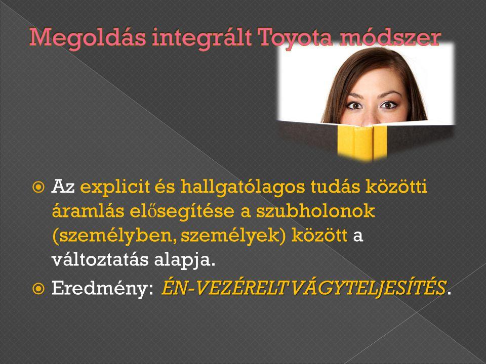  Az explicit és hallgatólagos tudás közötti áramlás el ő segítése a szubholonok (személyben, személyek) között a változtatás alapja. ÉN-VEZÉRELT VÁGY