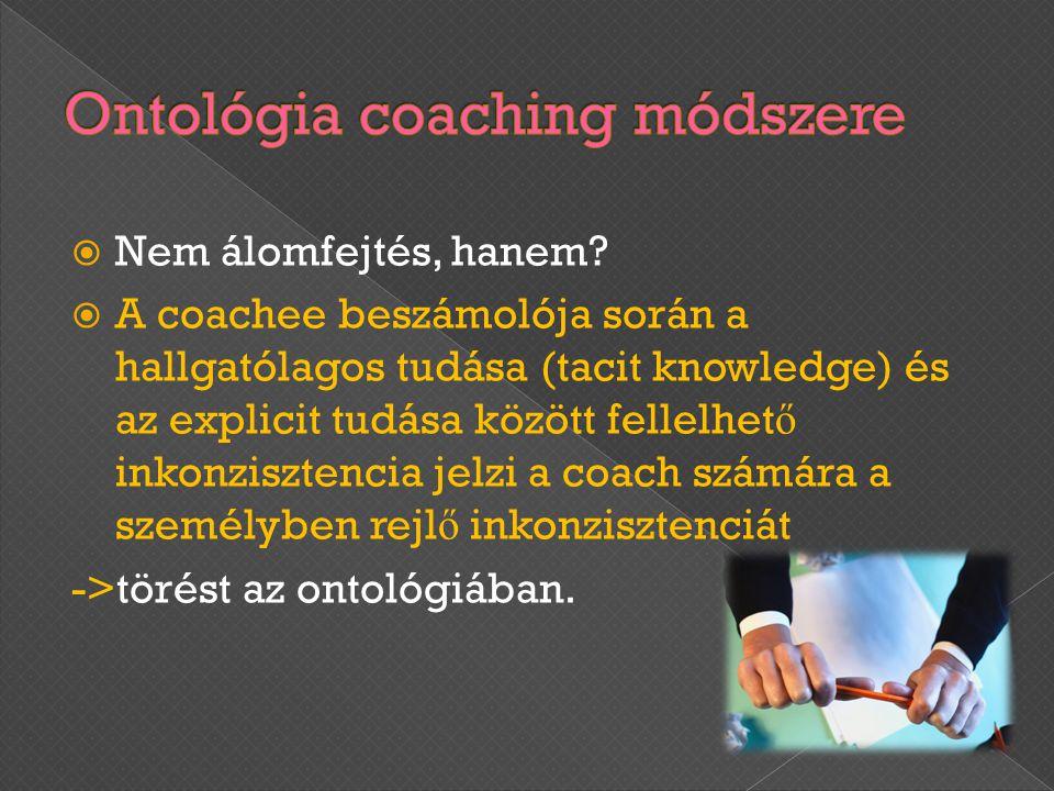  Nem álomfejtés, hanem?  A coachee beszámolója során a hallgatólagos tudása (tacit knowledge) és az explicit tudása között fellelhet ő inkonzisztenc