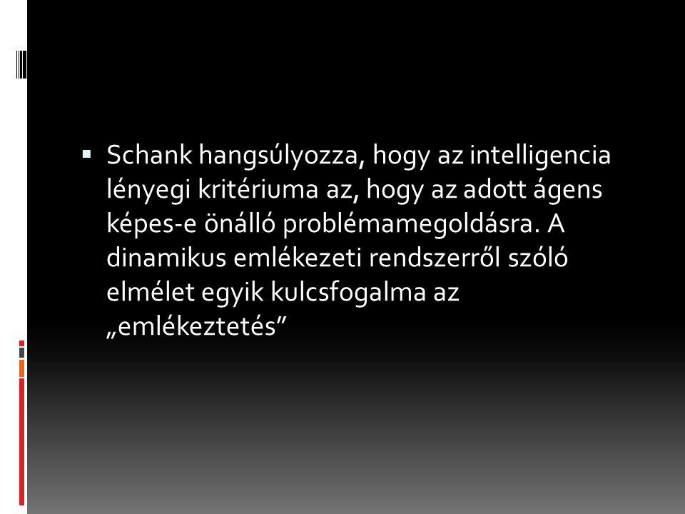  Schank hangsúlyozza, hogy az intelligencia lényegi kritériuma az, hogy az adott ágens képes-e önálló problémamegoldásra.