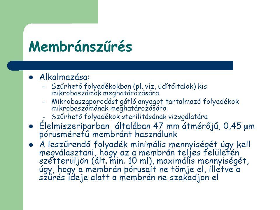 Membránszűrés Alkalmazása: – Szűrhető folyadékokban (pl. víz, üdítőitalok) kis mikrobaszámok meghatározására – Mikrobaszaporodást gátló anyagot tartal