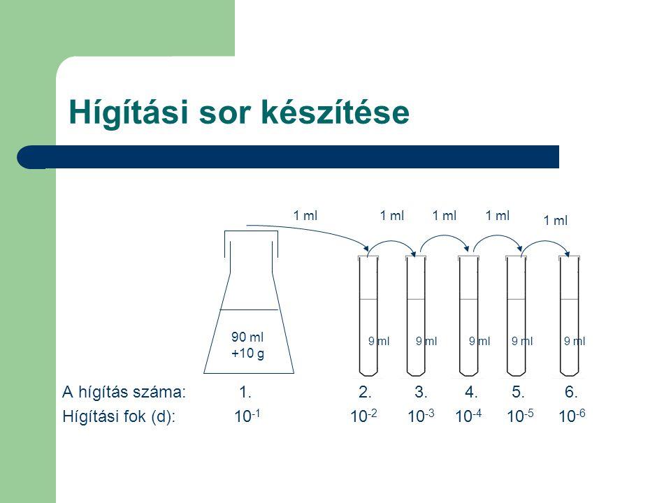 Hígítási sor készítése A hígítás száma: 1. 2. 3.4. 5. 6. Hígítási fok (d): 10 -1 10 -2 10 -3 10 -4 10 -5 10 -6 90 ml +10 g 9 ml 1 ml