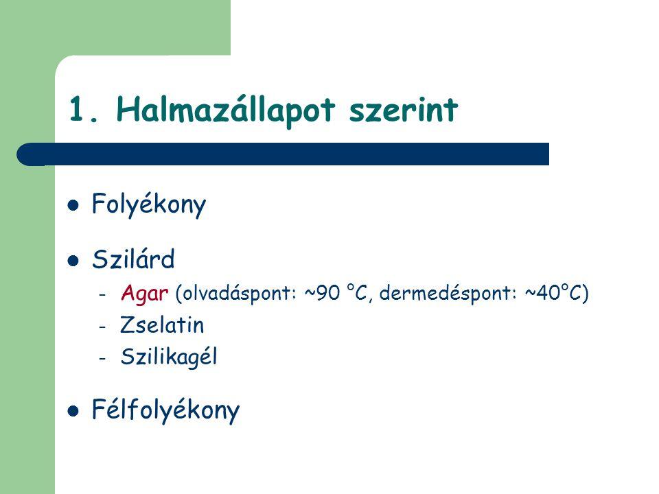 1. Halmazállapot szerint Folyékony Szilárd – Agar (olvadáspont: ~90 °C, dermedéspont: ~40°C) – Zselatin – Szilikagél Félfolyékony