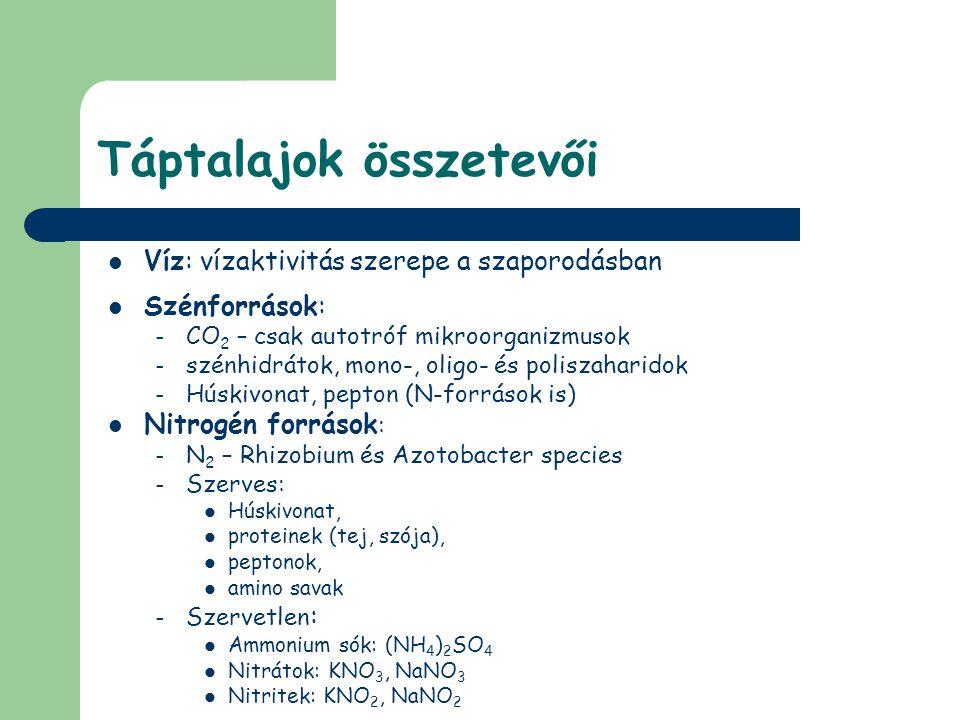 Táptalajok összetevői Víz: vízaktivitás szerepe a szaporodásban Szénforrások: – CO 2 – csak autotróf mikroorganizmusok – szénhidrátok, mono-, oligo- é