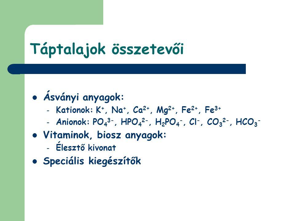 Táptalajok összetevői Ásványi anyagok: – Kationok: K +, Na +, Ca 2+, Mg 2+, Fe 2+, Fe 3+ – Anionok: PO 4 3-, HPO 4 2-, H 2 PO 4 -, Cl -, CO 3 2-, HCO