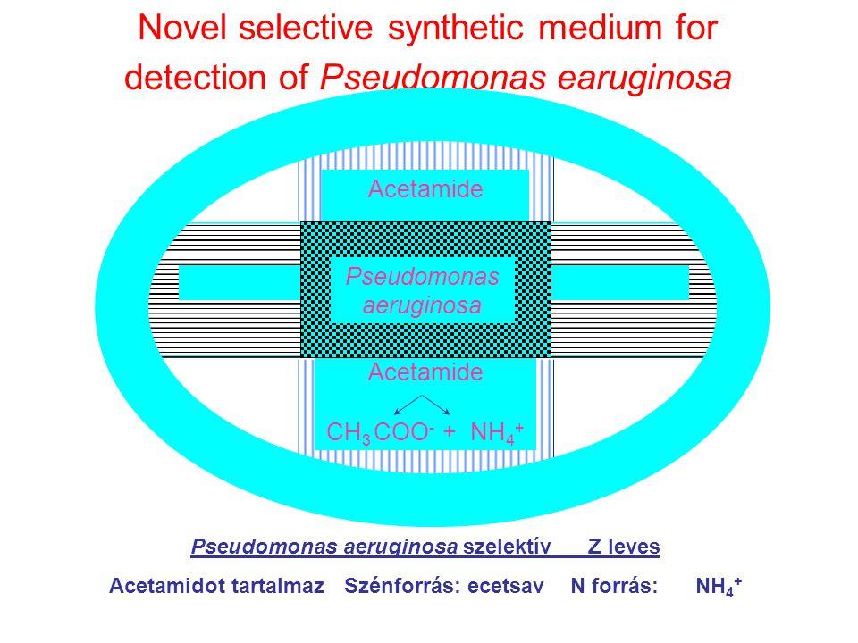 Novel selective synthetic medium for detection of Pseudomonas earuginosa Acetamide Pseudomonas Aeruginosa Pseudomonas aeruginosa szelektív Z leves Ace