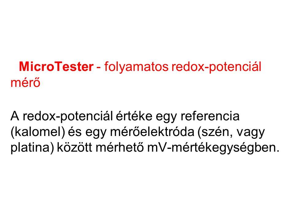 MicroTester - folyamatos redox-potenciál mérő A redox-potenciál értéke egy referencia (kalomel) és egy mérőelektróda (szén, vagy platina) között mérhe
