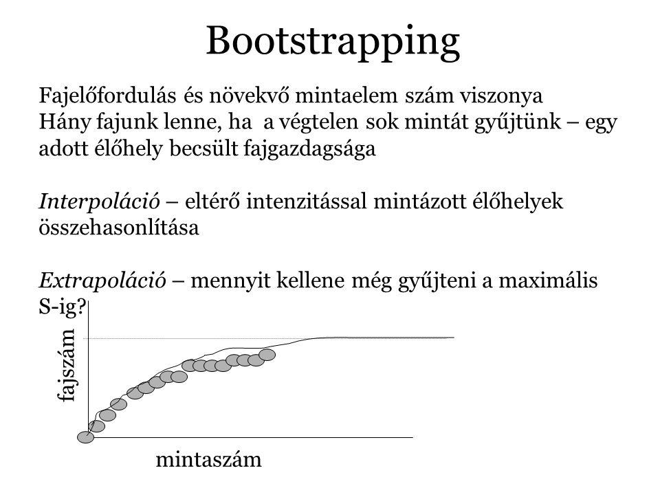 Bootstrapping Fajelőfordulás és növekvő mintaelem szám viszonya Hány fajunk lenne, ha a végtelen sok mintát gyűjtünk – egy adott élőhely becsült fajgazdagsága Interpoláció – eltérő intenzitással mintázott élőhelyek összehasonlítása Extrapoláció – mennyit kellene még gyűjteni a maximális S-ig.