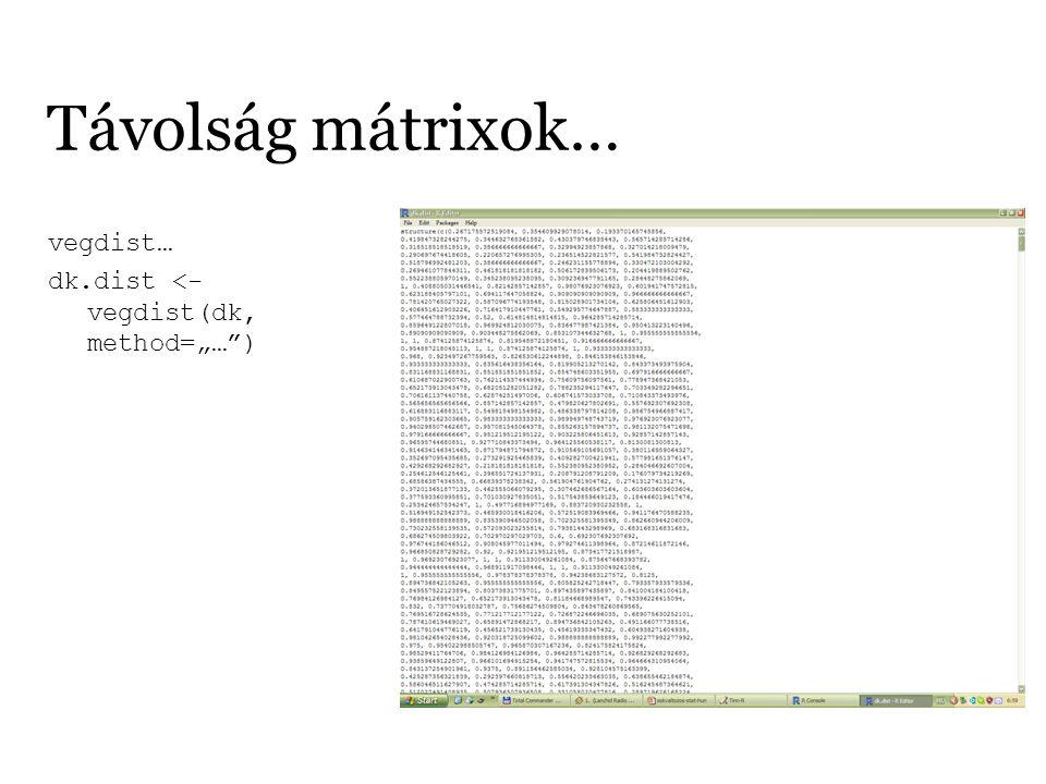"""Távolság mátrixok… vegdist… dk.dist <- vegdist(dk, method=""""…"""")"""