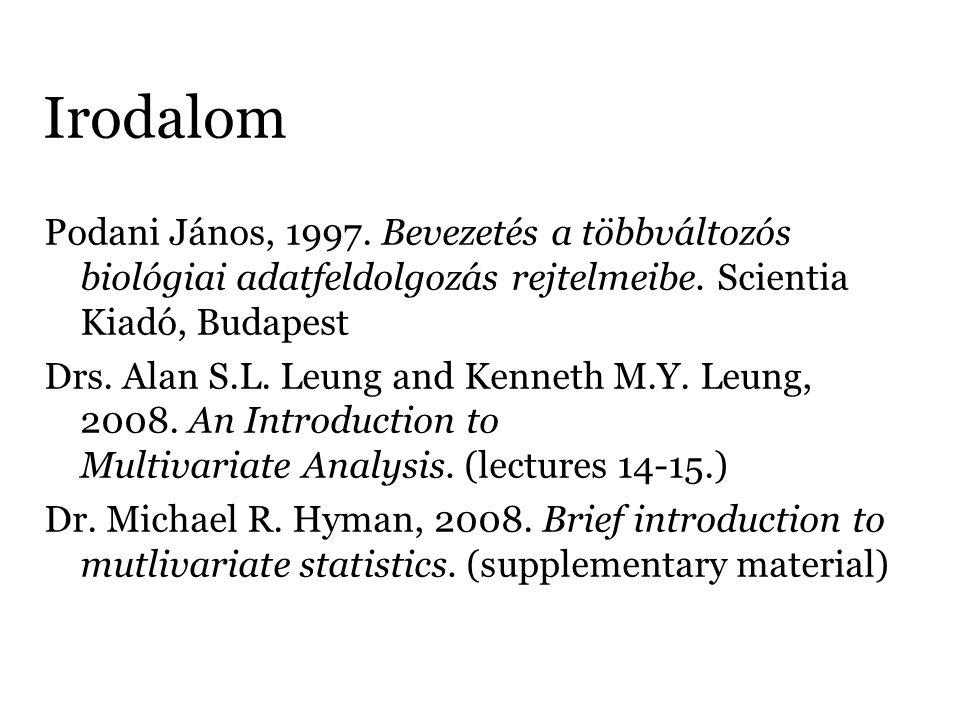 Irodalom Podani János, 1997. Bevezetés a többváltozós biológiai adatfeldolgozás rejtelmeibe. Scientia Kiadó, Budapest Drs. Alan S.L. Leung and Kenneth
